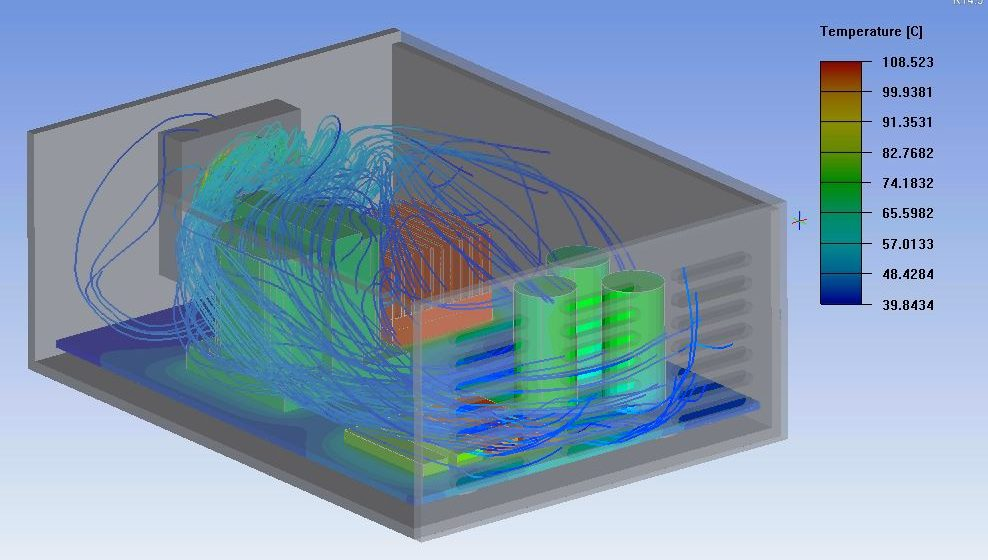 Typical thermal management simulation using ANSYS Icepak
