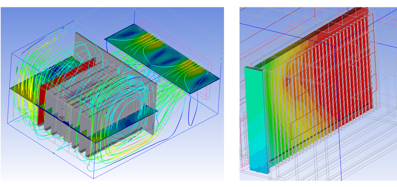 Optimised cooling fin design within cabinet