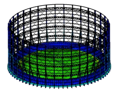 FEA of gas holder (Courtesy: Motherwell Bridge Ltd Clayton Walker Gasholders)