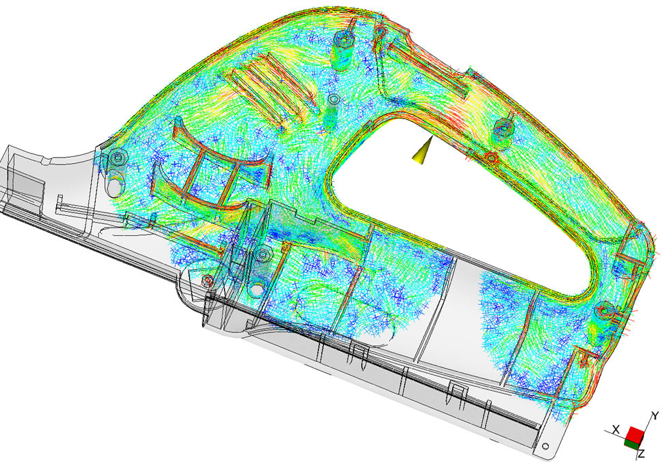Fibre orientation prediction during moulding (Courtesy: Autodesk)