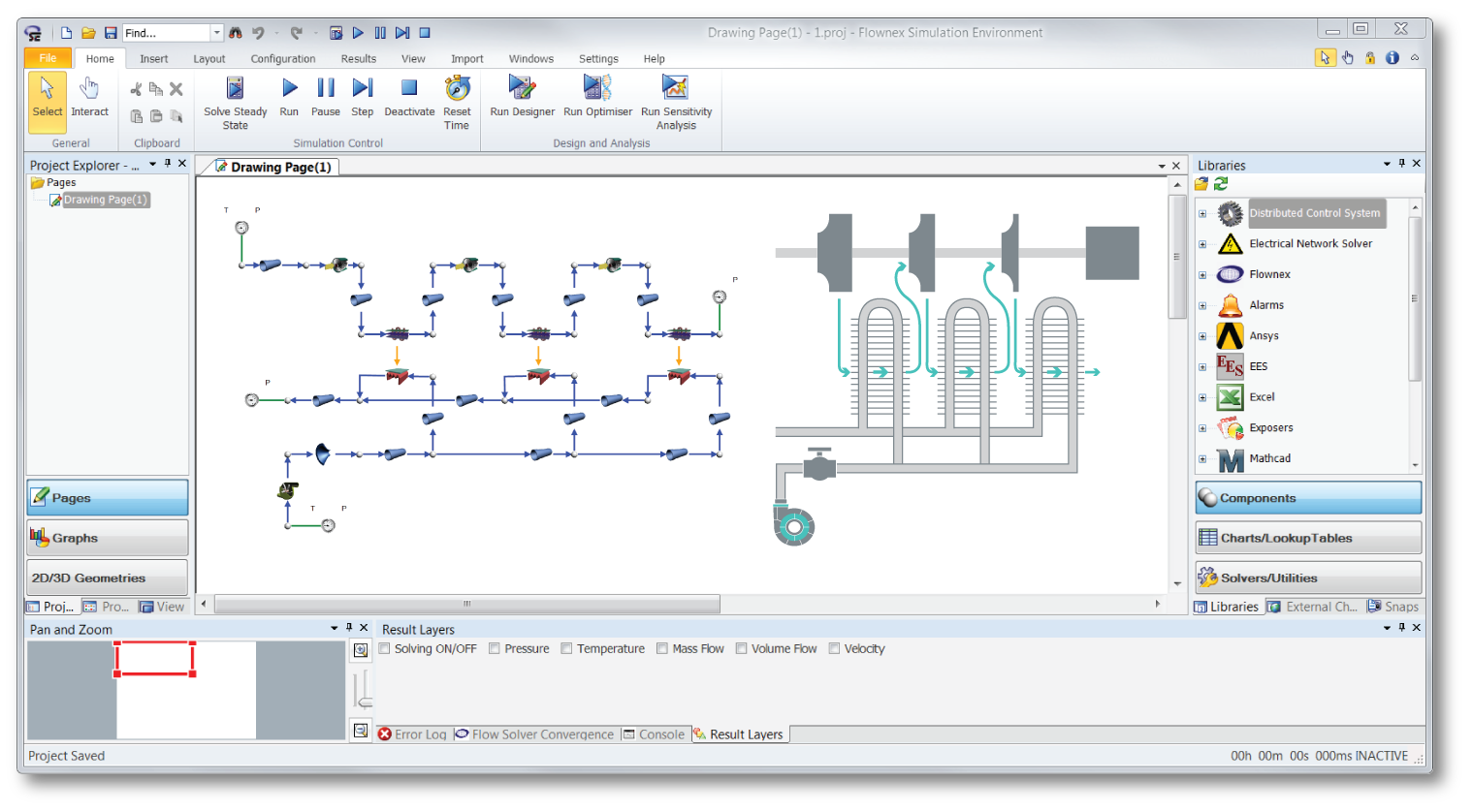 Flownex compressed air simulation  example with for compressor selection and pipe sizing