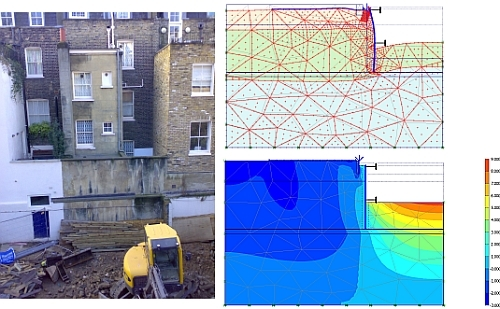 PLAXIS 2D prediction of basement excavation deformation predictions (Courtesy: RJM Ground Solutions Ltd)
