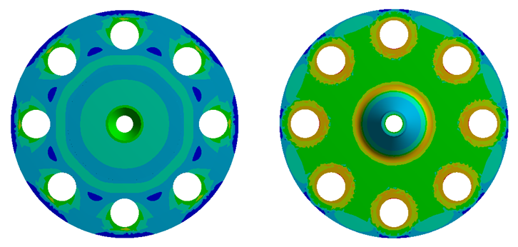 Fig. 2: Stress plot of stainless steel flange, underside and top-side (Courtesy: Chesterfield Special Cylinders)